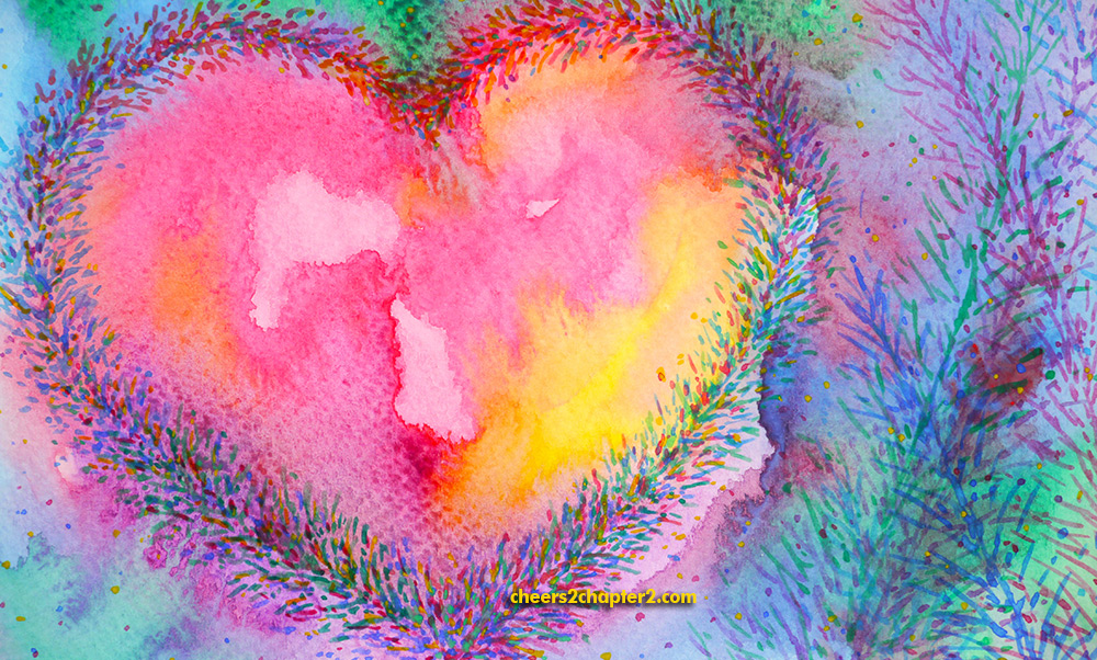 watercolor heart for protect your positive vibes page