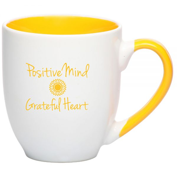 Front of 16 oz two tone mug with positive mind grateful heart imprint