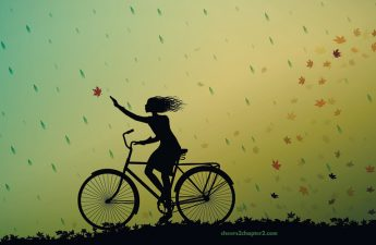 illustration of woman on bicycle catching leaves for quit playing small and make yourself a priority page