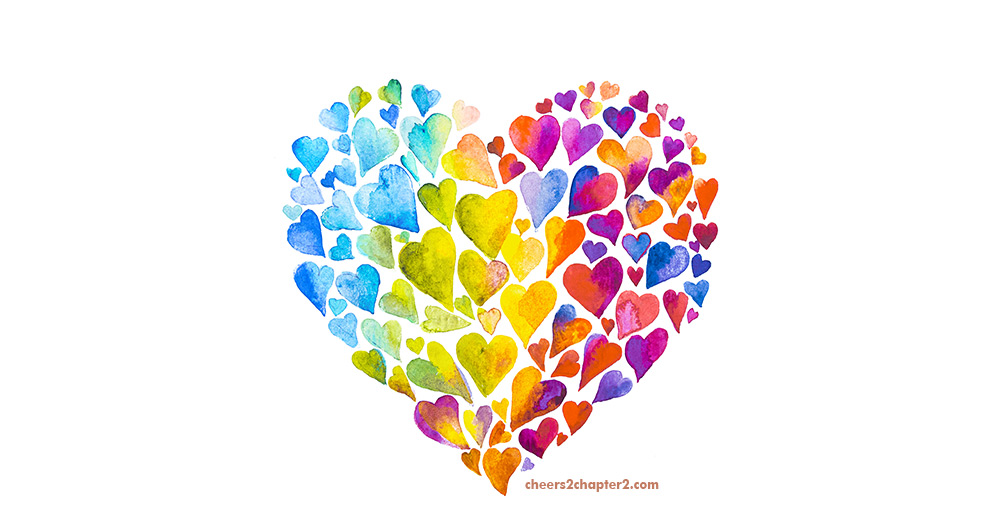 Beautiful big mulitcolor heart for Lean on Hope to Push Away Fear Cheers to Chapter Two page