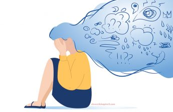 Illustration of a woman holding her head full of anxiety for Cheers 2 Chapter 2 Tips on How to Handle Anxiety During this Pandemic page