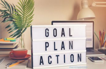 image of sign with goal plan action words for cheers to chapter two How to Reshape Your Life in Chapter Two