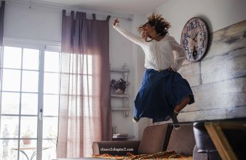 Woman doing a happy dance jumping for joy for how to have fun page cheers 2 chapter 2