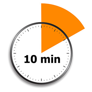 "A white clock face with an orange triangle intersecting the dial. The phrase ""10 min"" appears on the clock in black type."