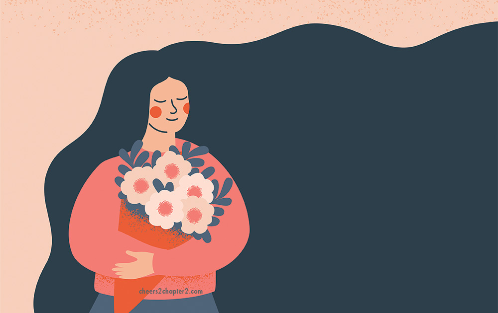 Illustration of smiling woman holding flowers for How to Shift Your Mood in 3 Easy Steps page