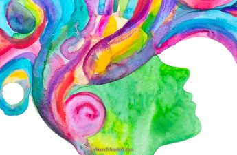 Watercoolor image of a womans head with thoughts swirling
